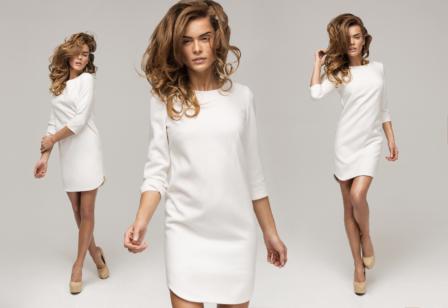 Three sexy woman in white dress